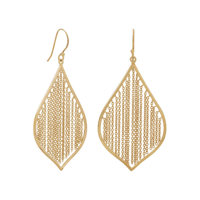 14 Karat Gold Plated Fringe Leaf Chain Earrings