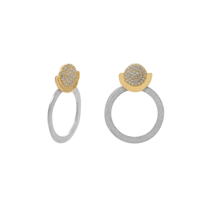 Two Tone CZ and Circle Drop Post Earrings