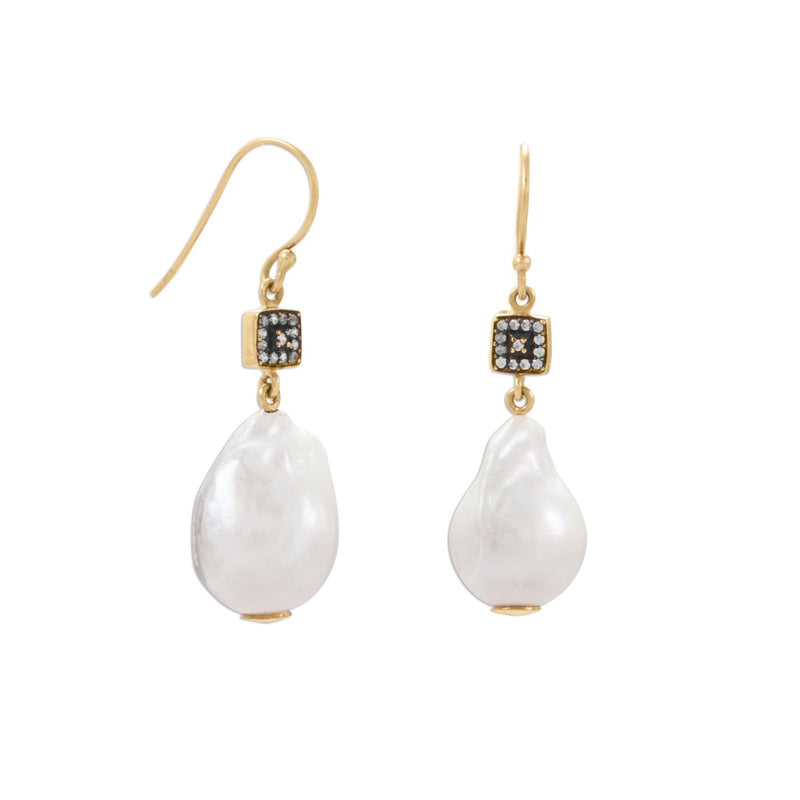 14 Karat Gold Plated CZ and Baroque Culture Freshwater Pearl Earrings