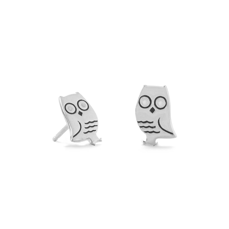 Sterling Silver and Enamel Owl Stud Earrings