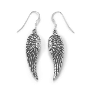 Oxidized Angel Wing French Wire Earrings