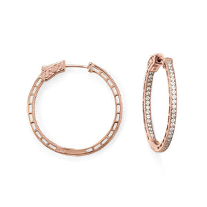 14 Karat Rose Gold Plated Round In/Out CZ Hoop Earrings
