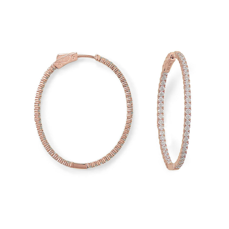 14 Karat Rose Gold Plated Oval In/Out CZ Hoop Earrings