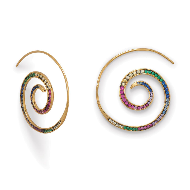 Hypnotic Multi Color CZ Spiral Earrings