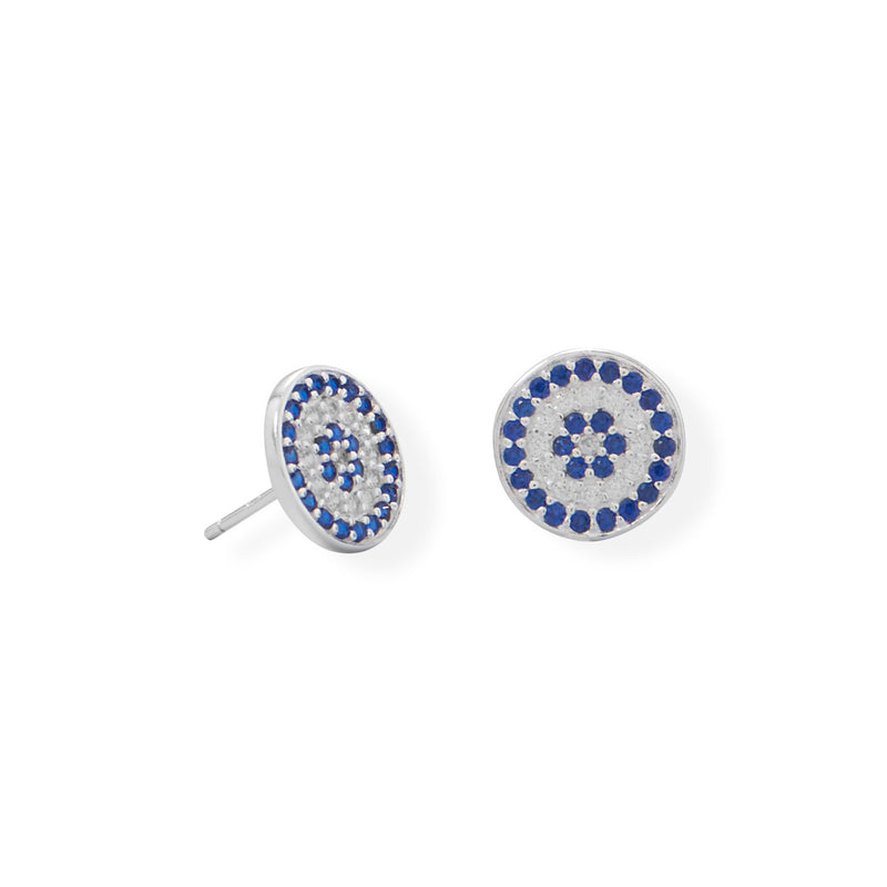 Blue CZ Disc Stud Earrings