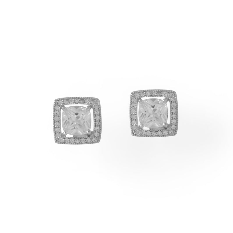 Rhodium Plated Square CZ with Halo Stud Earrings