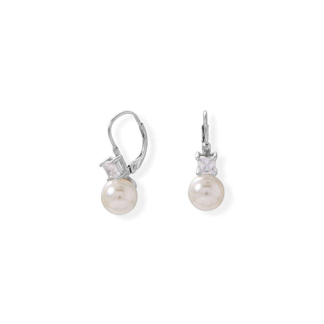 Simulated Pearl and Square CZ Lever Earrings