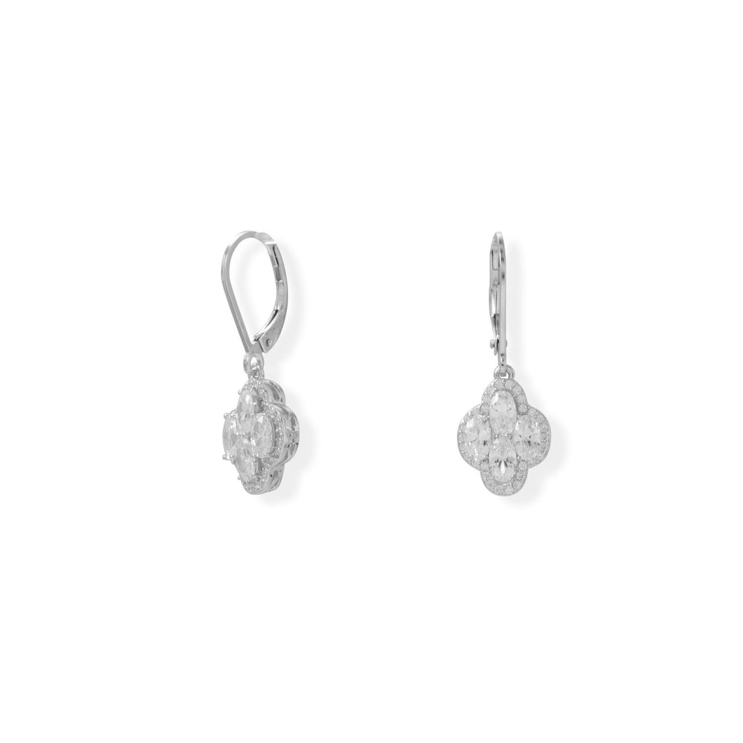 Rhodium Plated 4 Oval CZ Lever Earrings