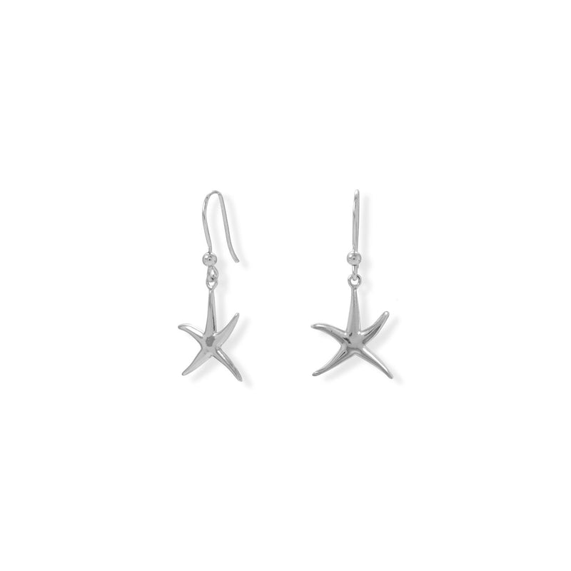 Rhodium Plated Starfish French Wire Earrings
