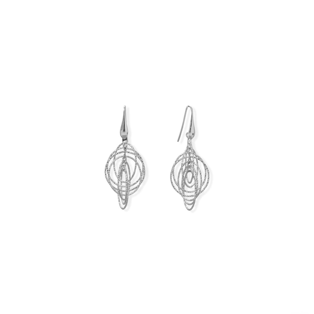 Italian Rhodium Plated 3-D Drop Earrings