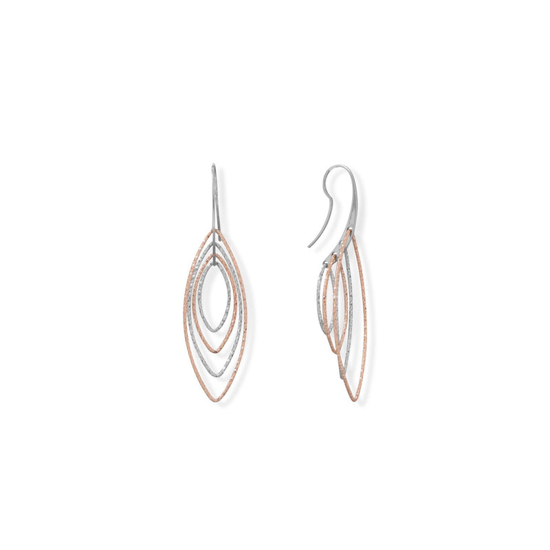 Italian Two Tone Marquise 3-D Earrings