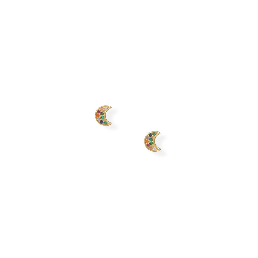 14 Karat Gold Plated Multi-Color CZ Moon Earrings