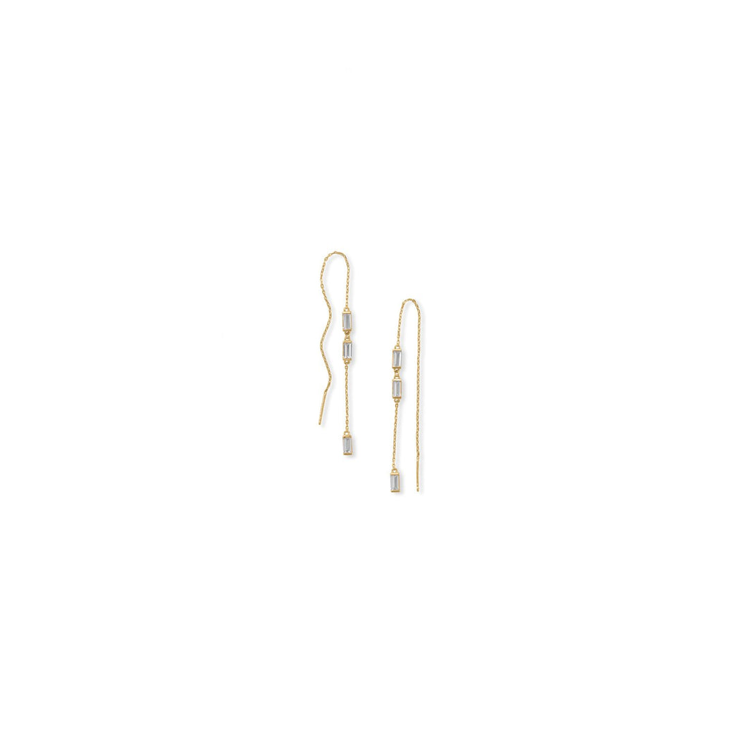 Bodacious Baguettes! White Baguette CZ Threader Earrings