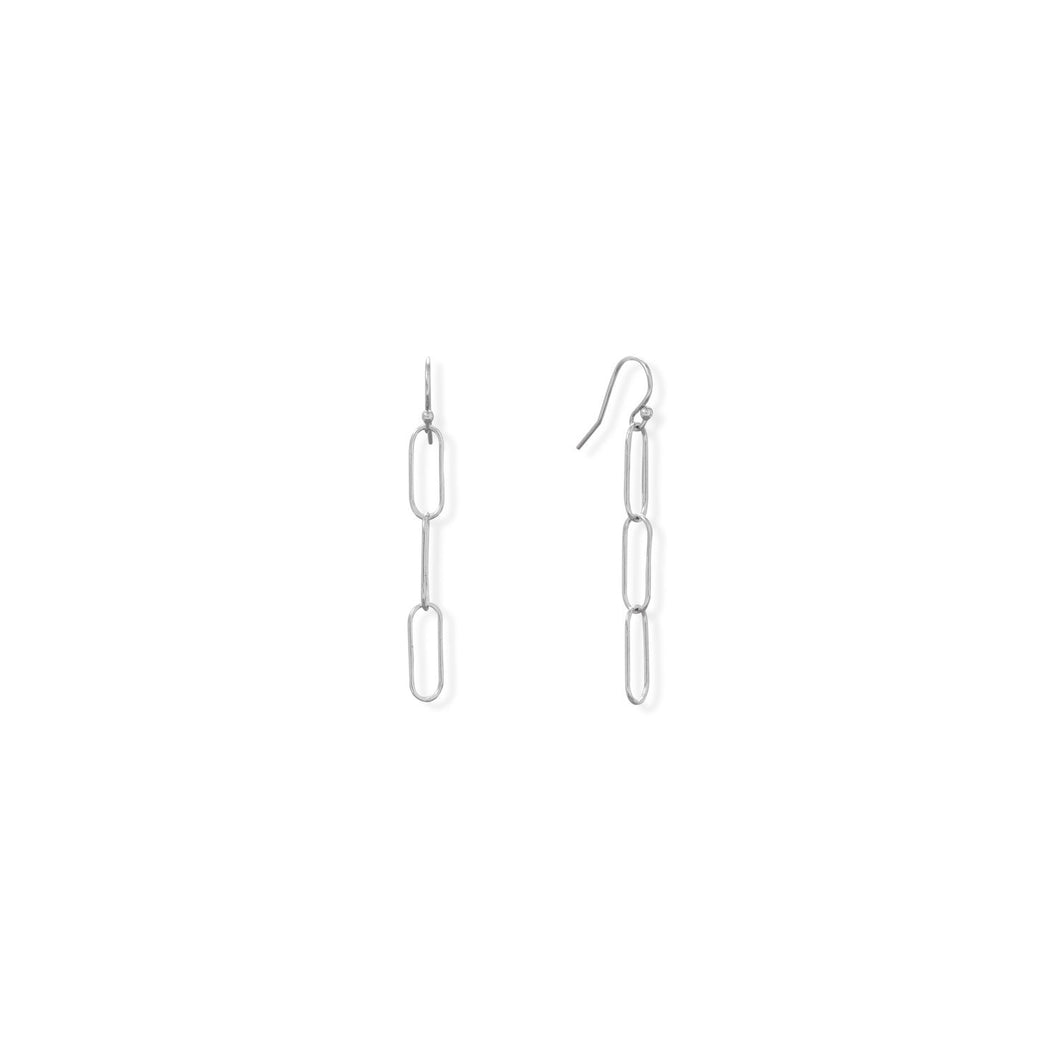 Rhodium Plated Paperclip French Wire Earrings