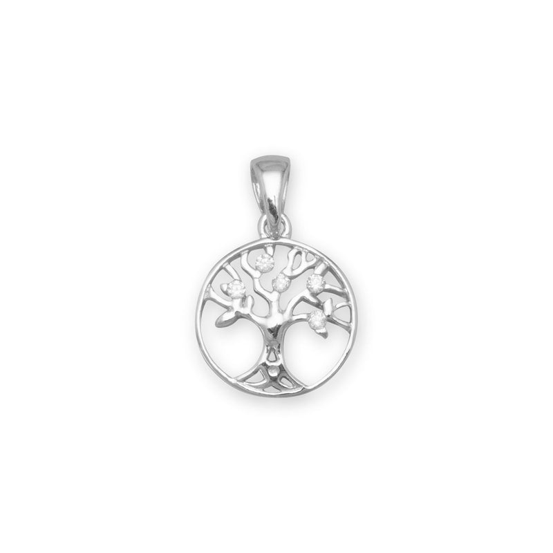 Rhodium Plated CZ Tree of Life Pendant