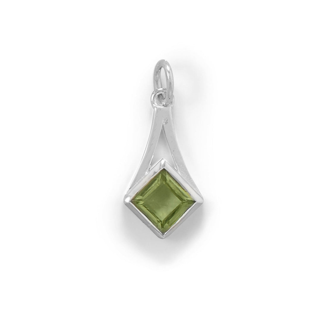 Sterling Silver Faceted Peridot Pendant