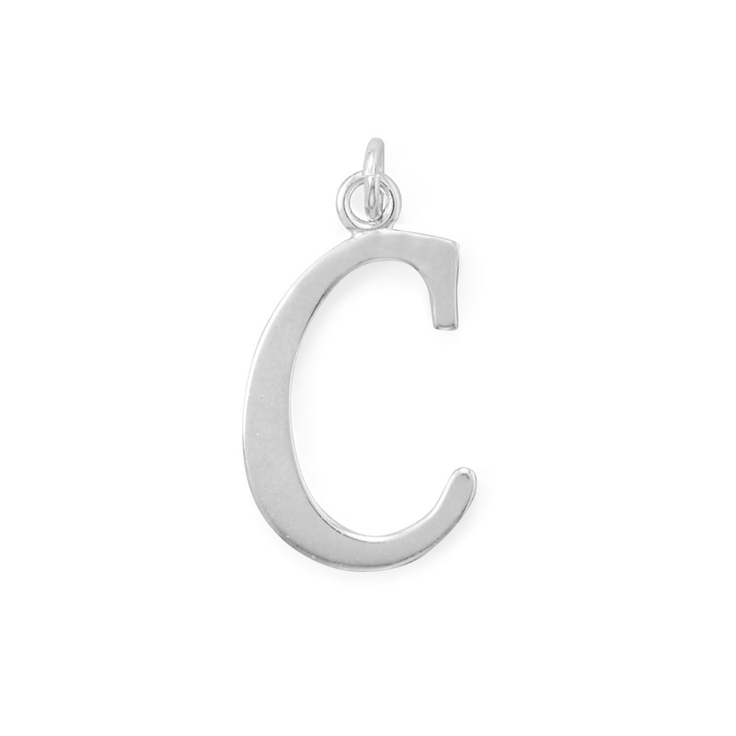 Polished Letter C Initial Pendant