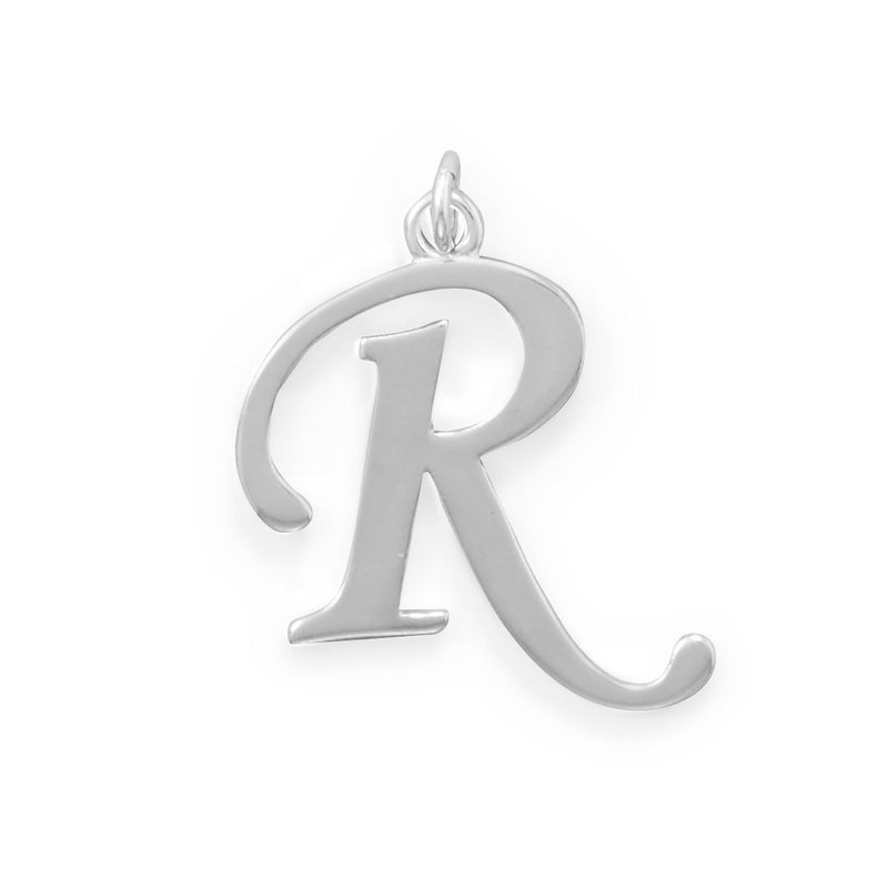 Polished Letter R Initial Pendant
