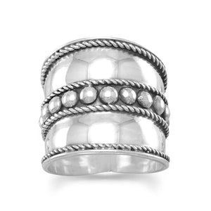 Bali Ring with Flat Beads in the Center and Rope Edge