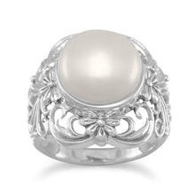 Load image into Gallery viewer, Ornate Cultured Freshwater Pearl Ring