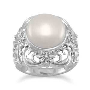 Ornate Cultured Freshwater Pearl Ring