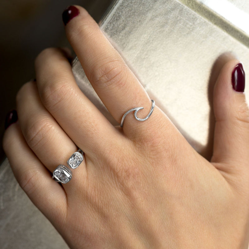 """Wave of Fresh Air"" Rhodium Plated Wave Ring"