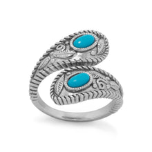 Load image into Gallery viewer, Rhodium Plated Turquoise Wrap Ring