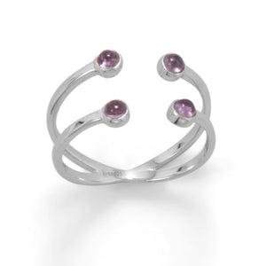 Rhodium Plated Amethyst Split Design Ring