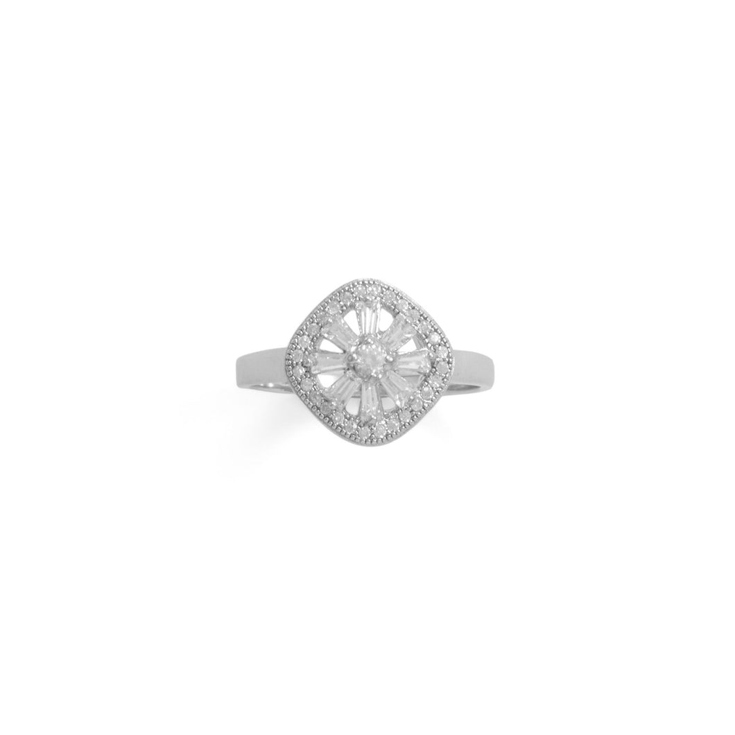 Rhodium Plated Baguette CZ Cushion Shaped Ring