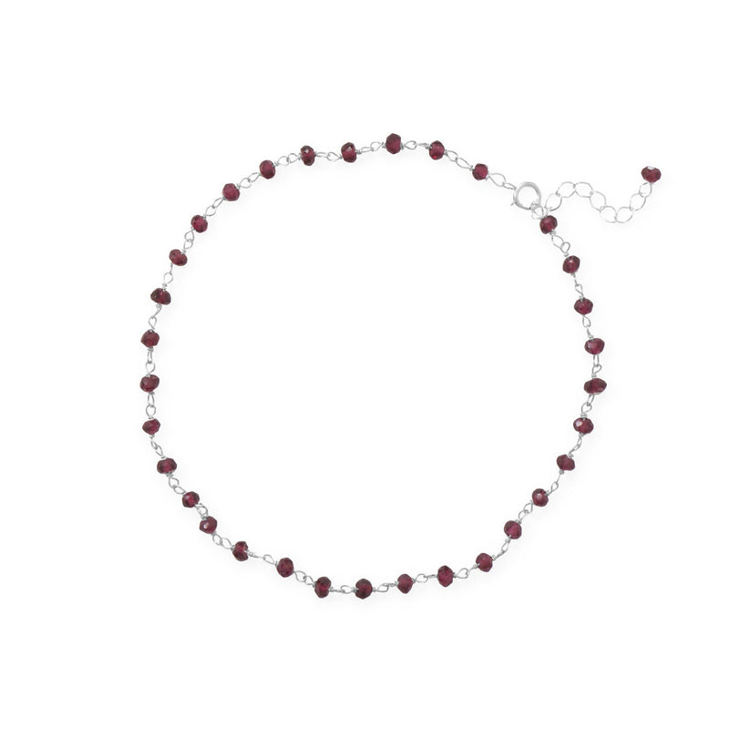 "Glam and Gleaming Garnet! 9.5""+1"" Sterling Silver Bead Anklet"