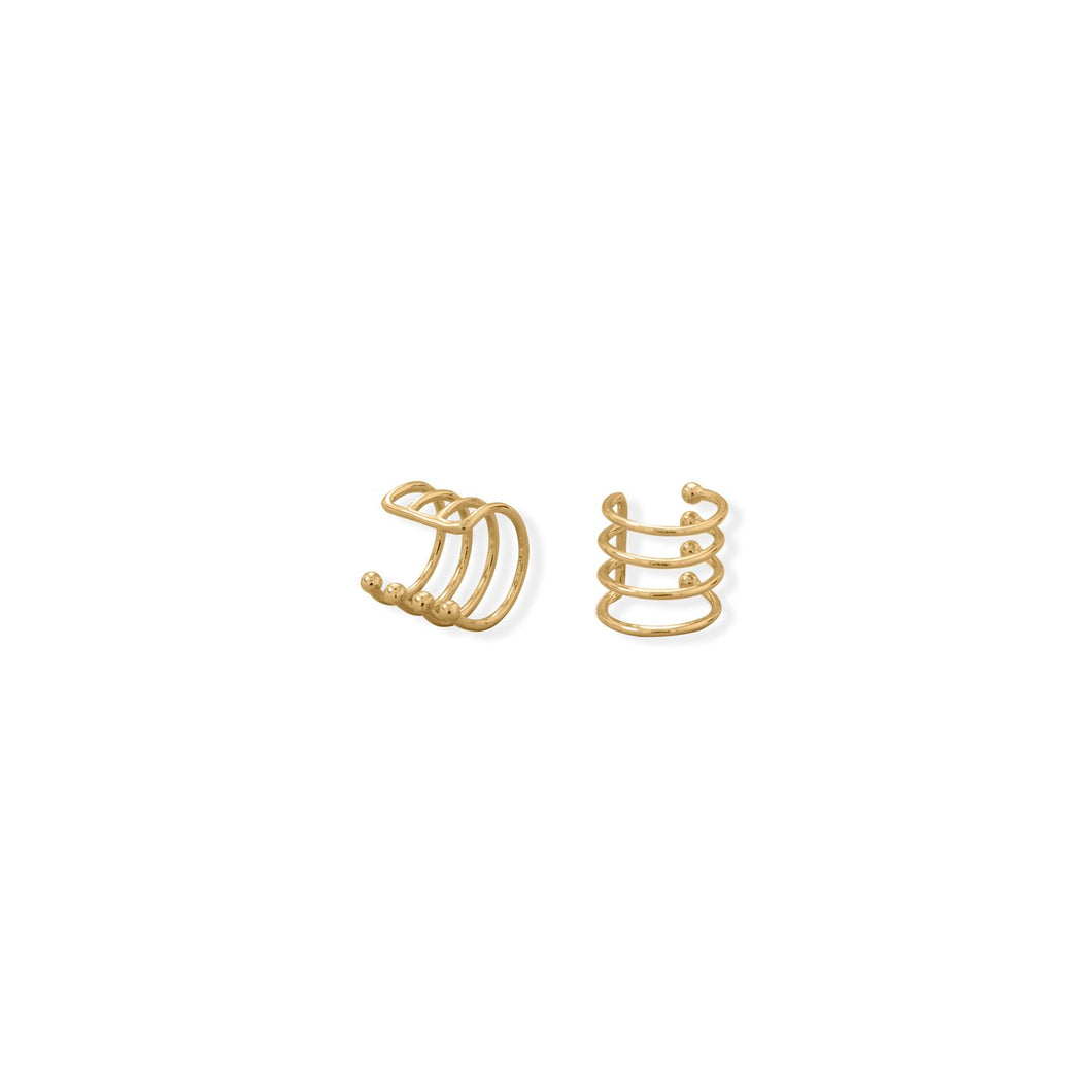14 Karat Gold Plated Four Row Ear Cuff