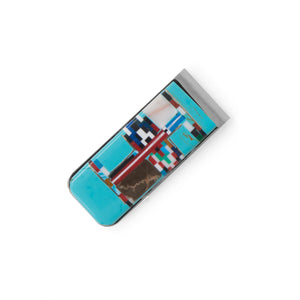 Stainless Steel Multi-Color Imitation Stone Money Clip