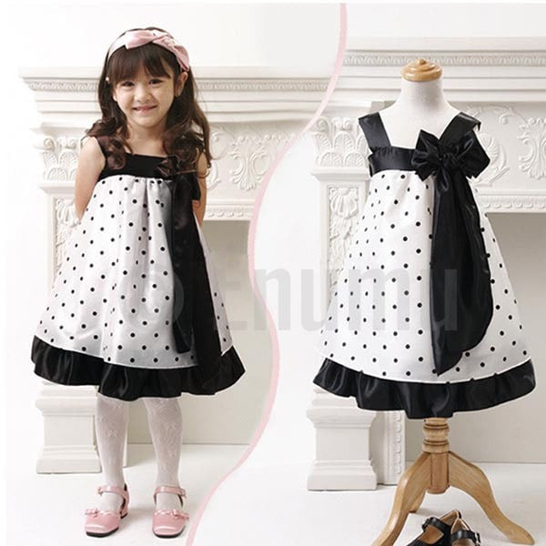 Black and White Polka Dot Dress - Enumu