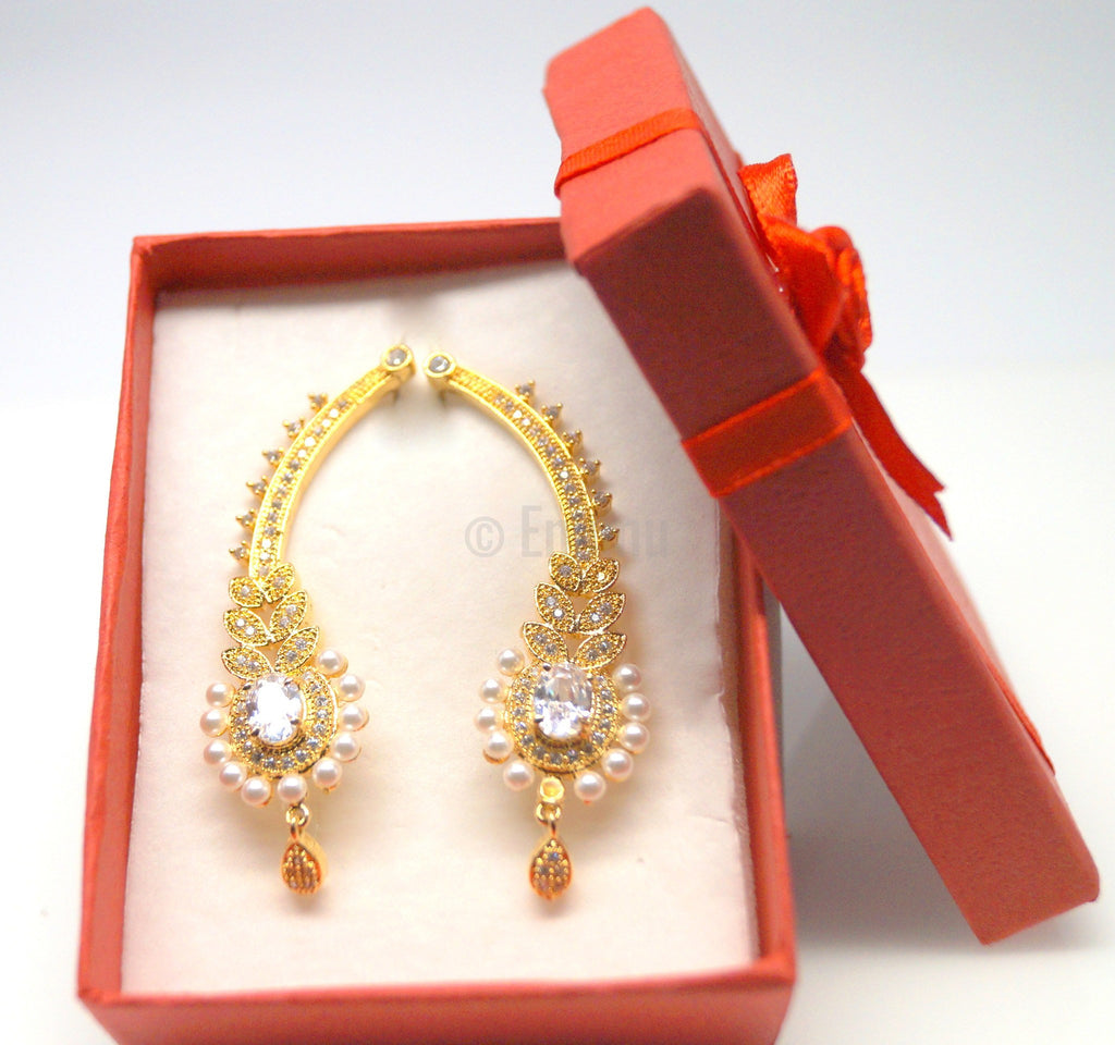 Pearl and CZ Ear Cuffs / Earrings - Enumu  - 3
