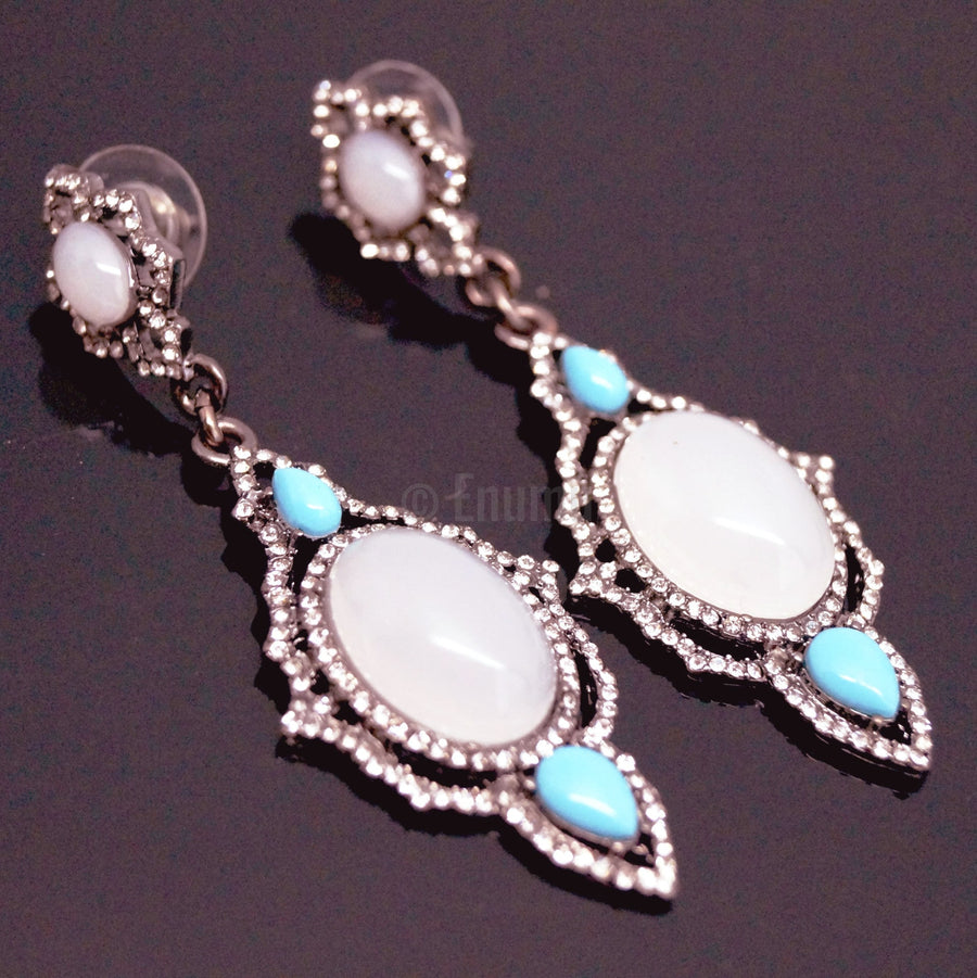 Turquoise and Elegant Opal Dangle Earrings - Enumu