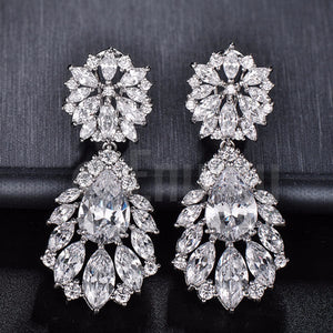 Diamond Imitation Leaf Drop Earrings - Enumu