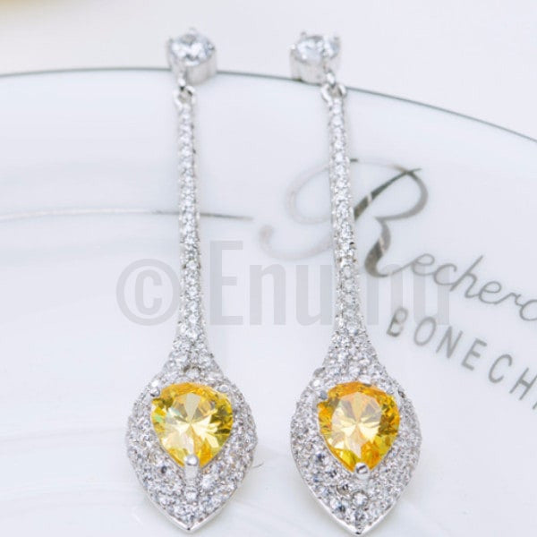 Yellow Stone Water Drop Earrings - Enumu