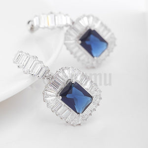 Blue Sapphire Diamond Imitation Dangle Earrings - Enumu