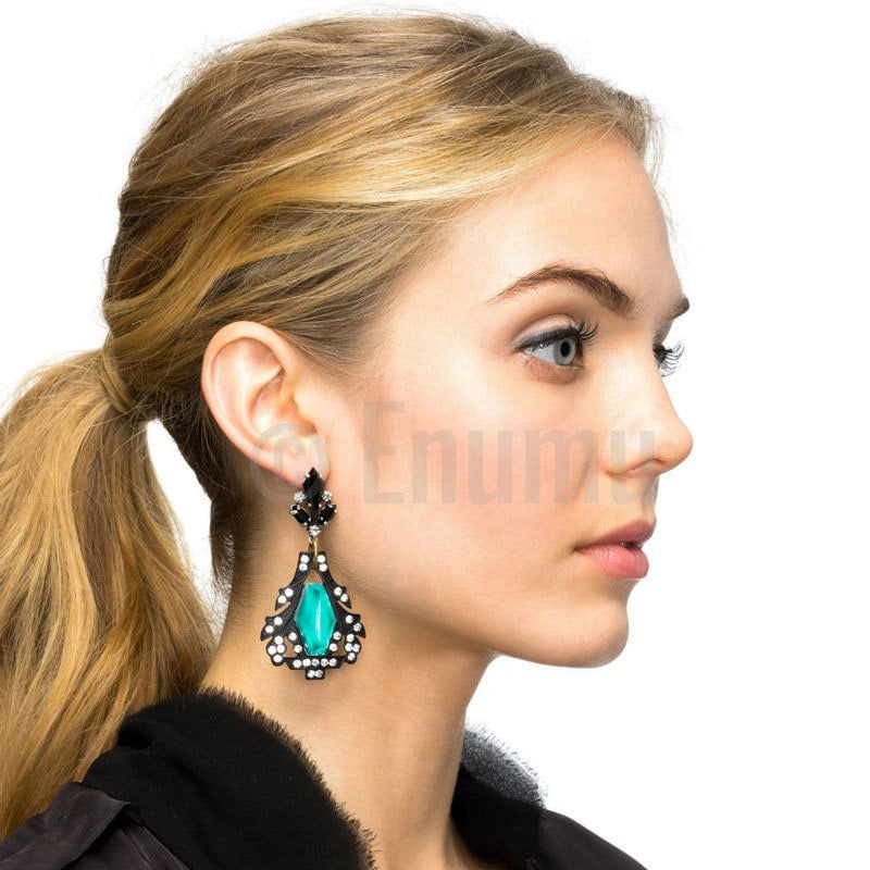 Blue and Black Party Long Earrings - Enumu
