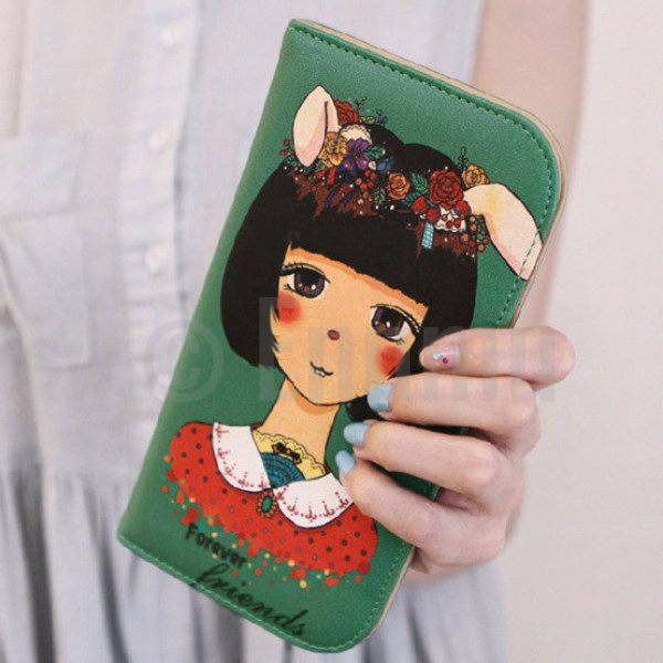 Long Green Cat Woman Wallet - Enumu