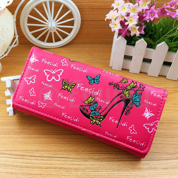 Pink High Heel and Butterflies Long Wallet - Enumu