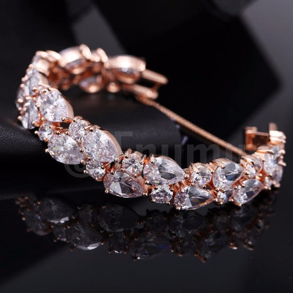 White Stone Grand wedding Bracelet - Enumu  - 1