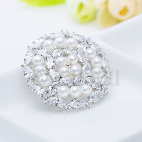 Diamond Imitation Pearl Wedding Brooch - Enumu