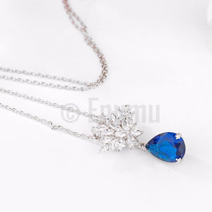Blue Sapphire and Swiss Zircon Pendant with Chain - Enumu