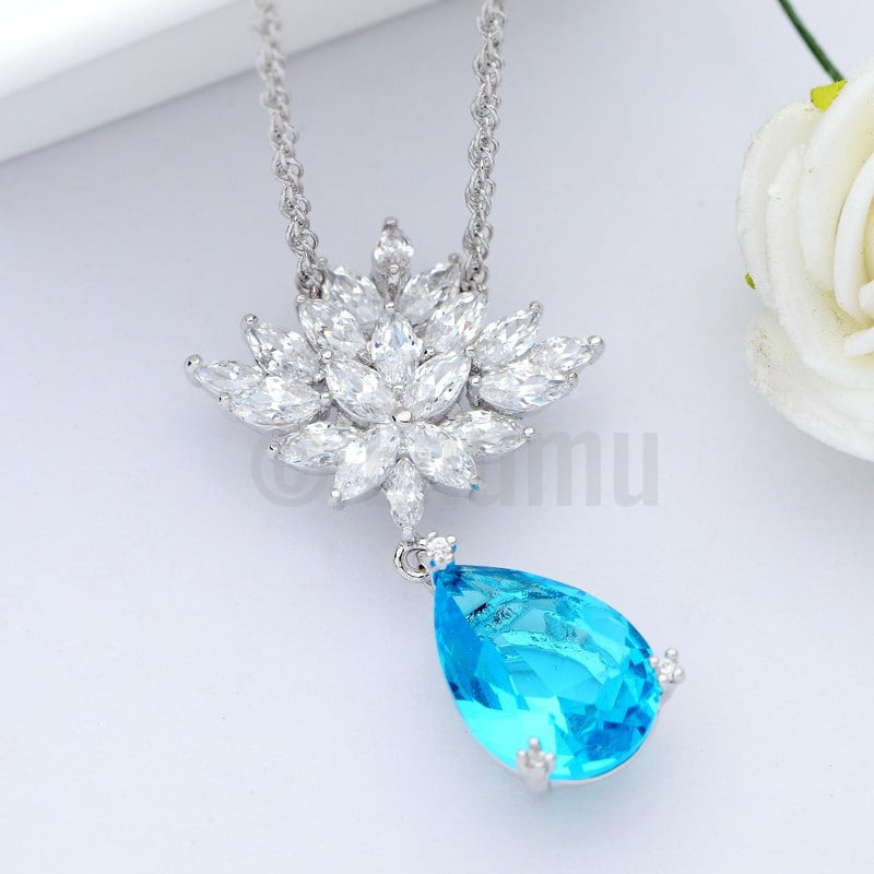 Aqua Marine and Swiss Zircon Pendant with Chain - Holi Special - All colours - Enumu