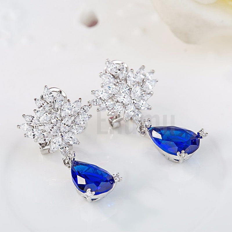 Blue Sapphire Dangle earrings - Holi Special ( All colours) - Enumu