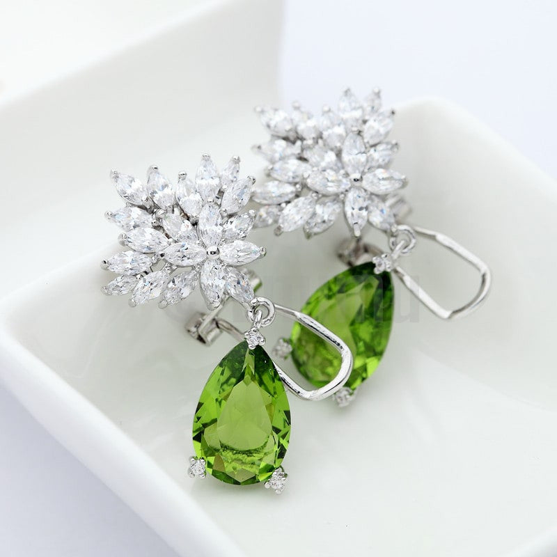 Peridot Dangle earrings -- Holi Special ( All colours) - Enumu