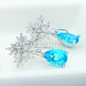 Aquamarine Dangle earrings - Holi Special ( All colours) - Enumu