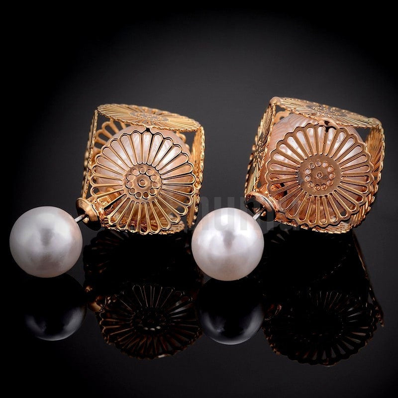 Double side Pearl Studs - Enumu