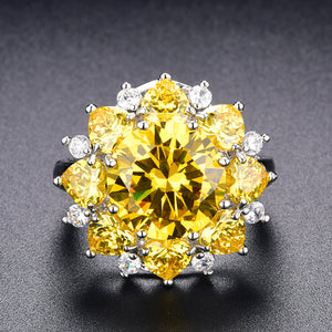 Yellow Flower Citrine  Ring - Enumu